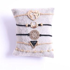 Ювелирные изделия ручной работы оптом пять частей черный бирюзовый сплав лунный браслет