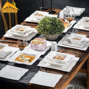 Серия Malacasa Series Mario 28-х частей для посуды посуды фарфора набор с 6 * чаша десертный суп обеда и 2 * Salt Shaker Набор 2 прямоугольная тарелка для 6Person