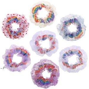 Saç Halkası Gökkuşağı Net İplik Hairbands Ev Tekstili Kızlar Renkli Scrunchies Bandı Elastik Şapkalar Scrunchy BWE5338