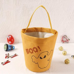 Halloween Canvas Party Decor Bucket Cartoon Pumpkin Vampire Ghost Witch Handbags Candy Bag Kids Gift Bags DHE8766