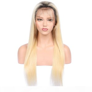 Full Lace Human Hair Ombre Wigs Blonde 613 1B With Baby Hair Pre Plucked Glueless Brazilian Remy Hair Ombre Blonde Lacefront Wig