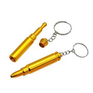 Perakende / Toptan Altın Bullet Metal Anahtarlık Sigara Boru Kafa Silah Tabanca Bullet Şekli Sigara Borusu 414 R2