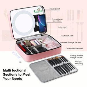 Professional Makeup Case Box With Ring Light + Mirror Phone Clamp Fashion Beautician Cosmetics Organizer Storage Nail Tool Boxes & Bins