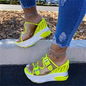 Big Size 35-43 Ladies Wedges High Heels Slippers Fashion Buckle Platform Women 2021 Casual Beach Mules Shoes Woman