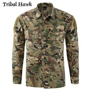Askeri Taktik Gömlek Erkekler Nefes Ordu Savaş Paintball Gömlek Rahat Kamuflaj Su Geçirmez Multicam Uzun Kollu Erkekler