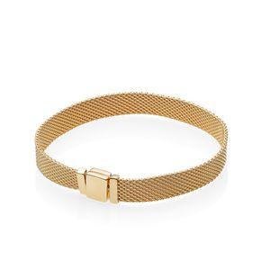 18K Yellow Gold NEW Reflexions Mens BRACELET Original Box Set for Pandora 925 Silver Women Gift Bracelets
