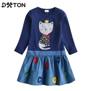 DXTON NIÑOS Invierno Vestidos de manga larga Dress Patchwork Vestido para niñas Animal Cat Dibujos animados Drugdler Casual Ropa C0228