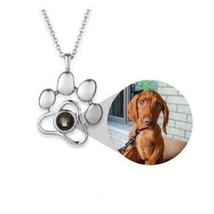 pendants 100 words I love you projection Necklace cat Dog Tag paw print stainless steel cute pet animal mark