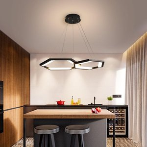 Pendant Lamps Six-sided Ring LED Chandelier Living Room Dining Bedroom Study Business Place Artistic Lighting