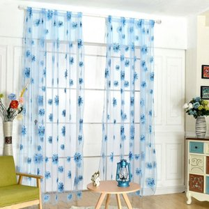 Curtain & Drapes 95*200CM Sunflowers Printed Sheer Window Panel For Kitchen Living Room Voile Screening Semi-shading High .