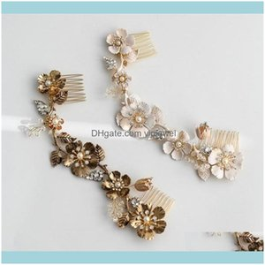 Jewelry Jewelryantique Gold Floral Hair Wedding Bridal Headband With Comb Headpiece Crystal Rhinestone Hairband Crown Tiara Princess Queen D