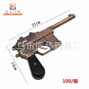Large simulation military alloy shell gun metal Mauser performance props eat chicken pistol model toys