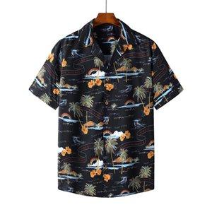 Homens Manga Curta Hawaiiana Camisas Men's Relaxed-Fit Rápido Secagem Rápida Casual Coconut Tree Impresso Botão Para Baixo Mulheres Camisa de Praia do Férias para Masculino SS110
