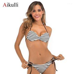 Aikulli Bikini 2020 Sexy Slipe Bandage Bikinis Женщины полосатые купальные костюмы Купальники Низкая талия Купальник Женская Летняя Одежда1
