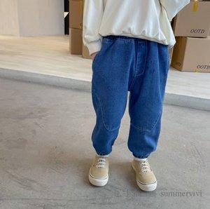 Мода дети повседневные джинсы мальчики двойные карманные эластичные талии джинсовые брюки осень дети свободные ковбойские штаны Q1924