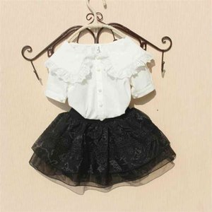 Kids Blouse for Girls Summer Solid Children School Shirts Cotton Teenage Long Sleeve White Tops Ruffled Clothes 210622