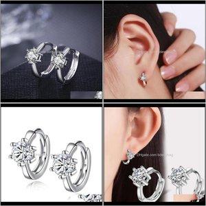 & Hie Jewelryluomansi Korea Color Zircon Simple Sier Plated Crystal Hoop Earrings Women Jewelry Wedding Aessories Drop Delivery 2021 8Xrj5