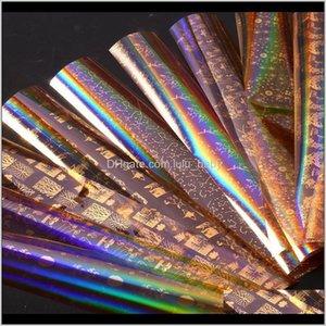 Лазерный золотой ногтей Звездная серия серии Transfer Sticker Starry Clue Клей Полное покрытие Наклейки наклейки UT7W1 Наклейки наклейки TL8NO