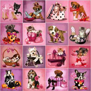 Evershine Painting Cat Rhinestone Pictures 5D DIY Diamond Embroidery Animals Dog Cross Stitch Kit Home Decoration