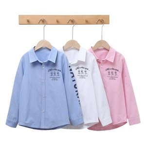 3-13Yrs Big Kid Long Sleeve Shirts Collar Shirt Clothes For Boys 12 Years Button Down Kids Teens Top