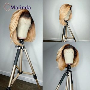 Lace Wigs Blonde Short Bob For Black Women Ombre Front Wig Human Hair Preplucked Bleached Knots