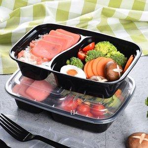150set / lote plástico descartável Bento Box De Armazenamento De Refeição De Alimentos De Alimentos Lancheira 2 Compartimento Microwavable Recipientes Lunchbox HHD7640