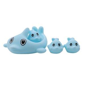 4 Pcs Set Classic Rubber Dolphin Bathing Toys Lovely Mini Bath Dolphin Floating Rubber Bath Toys Squeeze-sounding Dabbling Toy L0323
