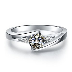 Cluster Rings 0.5CT Star Twinkle Classical Diamond Ring Platinum 950 Engagement Jewelry