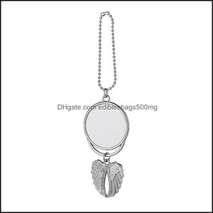 Arts, Crafts Home & Gardenpendant Sublimation Air Fresheners White Blank Diy Customized Gifts Three Styles Car Pendants Metal Angel Wings Or