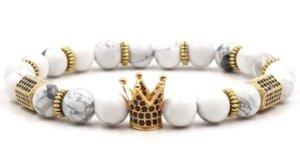 2020 8mm XG453 Gold Argent Crown Crown Micro Pave CZ Zirconia Cubic Zircon Bracelet Noir Volcanique Lava Onyx Imperial Bracelets