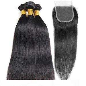 10A Straight Brazilian Human Hair Extension 100% Human Hair 3 Bundles with Closure Brazilian Hair Weave Bundles