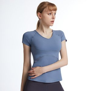 Yoga outfit clothes short sleeve top round neck show thin fashion sexy fitness L-886
