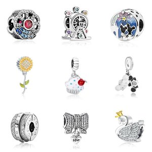 Passt Pandora Armbänder 20 stücke Sonnenblume Riesenrad Schwan Kristall Baumeln Silber Reize Perle Für Frauen machen DIY European Halskette Schmuck Zubehör