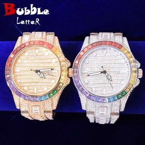 Красочные Циркон мужские часы Большой круглый циферблат военные кварцевые часы роскошный Багютт гонорашкового бизнеса Водонепроницаемые наручные часы