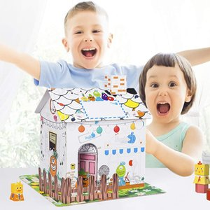 puzzles Youwo Country Cottage Children's Cardboard Colored Play House, Art & Craft brings interior fun, vibrant exterior artwork