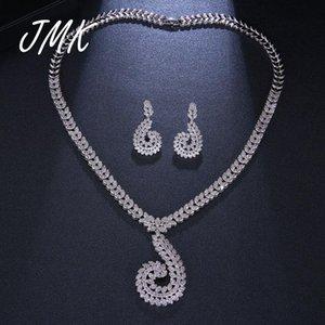 Earrings & Necklace JMK Boho Branch Jewelry Sets High Quality Zircon Silver Pendant Earrrings For Women Bridal Wedding Party Gift