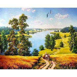 Живопись по номеру для взрослого окраски осенний ландшафт ландшафта Hearbainted рисунок холст картинки масло домашнего декора художественные картины