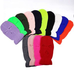 Hot selling winter three hole knitted candy colored wool hat bandit Baotou outdoor cycling windproof mask cap