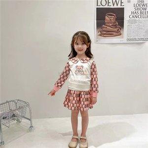 Designer Kids cartoon bear printed sets children doll lapel long sleeve sweatshirt+letter pleated skirts 2pcs girls princess outfits A7833