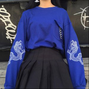 Femmes Sweat à capuche Avril Momo Broderie Noir Sweat-shirt Top Top Chaînes à manches longues Prepy O Col Pullovers Tops Streetwear Outwear