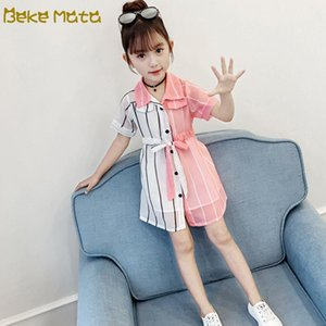 Baby Girl Tops 2020 Summer Striped Patchwork Toddler Girl Blouse Short Sleeve Kids Wearing Clothes Children's Clothing 3-11 Years