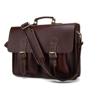 Retro Crazy Horse Leather Men's Briefcase High Quality Genuine Leather16'' Laptop Business Hand Bag Cowhide Office Messenger Briefcases