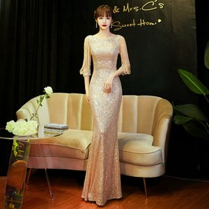 Sequin Evening Women's 2021 Summer Banquet Temperament Sexy Fishtail Long Champagne Host Drs
