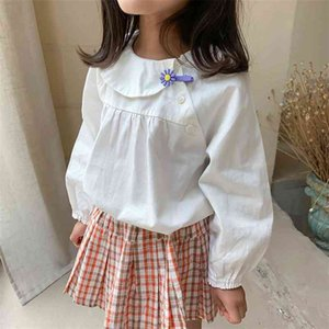 Korean style girls fashion all-match Tilt collar white long-sleeved doll blouses pure cotton casual Tops 210708
