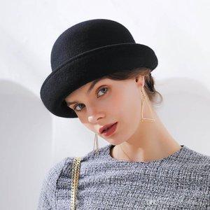 Лучшие Fibonacci Новый бренд Качество Фланцевая цветочная шерсть Fairt Fedoras Женская осень зима шляпы купола элегантный банкет Fedora Hat