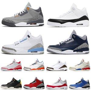 nike air jordan retro 3 3s 2021 Yeni Kalite Basketbol Ayakkabıları Fragment Mens Womens Jumpman UNC Georgetown Serin Gri III Mahkemesi Rakipler Eğitmenler ayakkabılar