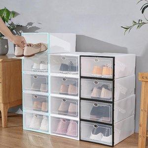 Kleiderschrank Aufbewahrung Faltbare Klarschuhe Box Kunststoff Stapelbarer Schuh Organizer Verdickte Transparente Schubladenkoffer Stapelwerkzeug