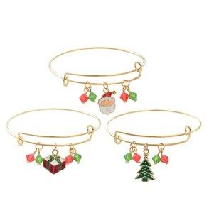 Bijoux à la main en gros Bracelet de Noël Breloques pour Femmes Filles Thanksgiving Holiday Bell Santa Santa Ajustable Extensible Crystal Bracelet Bijoux