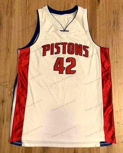 Пользовательские ретро Джерри # Stackhouse Баскетбол Джерси Мужчины Все сшитые белые Любой размер 2XS-5XL Имя и номер высокого качества