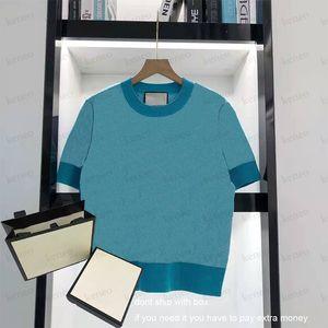 Kadın Yaz Kısa Kollu Kazak Kadın O-Boyun Örgü Moda Ins Tarzı Trendy Mektup Baskı Üst Lady T-shirt Yüksek Kalite Kazak Gömlek 2021